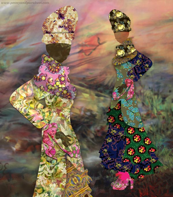 Collaged Fashionistas - digital art from hand-drawn and hand-painted elements. By Paivi Eerola of Peony and Parakeet.