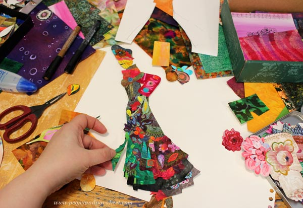 Making a paper collage doll - a collaged fashionista by Paivi Eerola of Peony and Parakeet.