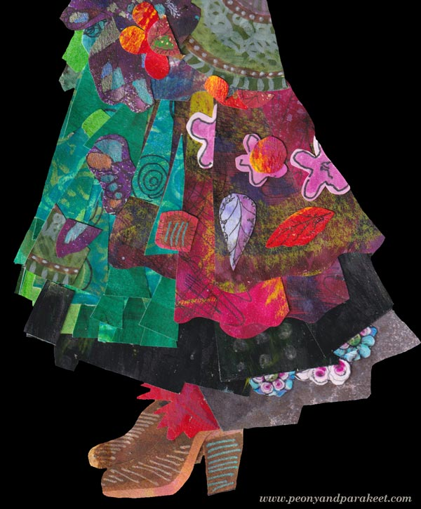 A detail of a collaged paper doll. By Paivi Eerola of Peony and Parakeet.
