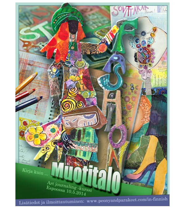 Muotitalo - an art class brochure from 2014 by Peony and Parakeet. A collaged fashion model the cover.