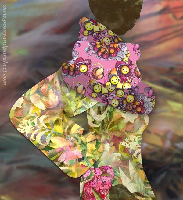 A collaged Fashionista - digital art displaying surface patterns. By Paivi Eerola of Peony and Parakeet.