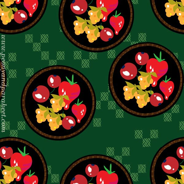 Berries surface pattern design by Paivi Eerola of Peony and Parakeet.