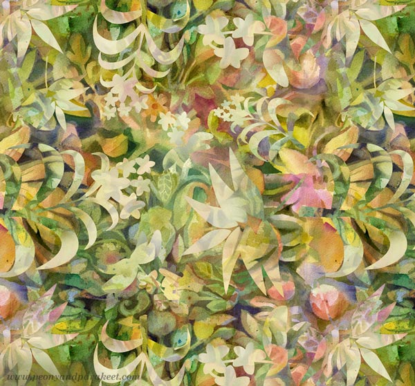 A watercolor batik surface pattern design by Paivi Eerola of Peony and Parakeet.