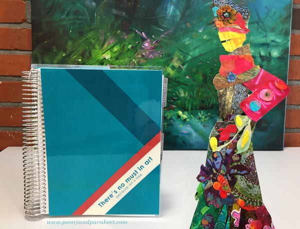 Erin Condren montlhy planner with a customized quote from Wassily kandinsky. Artist's business planner.