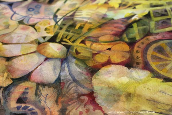 A detail of a watercolor painting by artist Paivi Eerola.