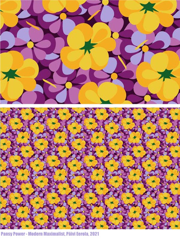 Pansy Power, a surface pattern by Paivi Eerola. From the collection Modern Maximalist.