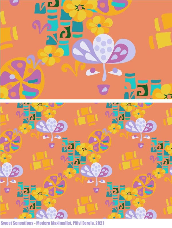 Sweet Sensations, a surface pattern by Paivi Eerola. From the collection Modern Maximalist.