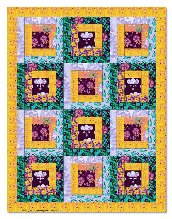 A quilt mockup from the fabrics designed by Päivi Eerola. From the collection Modern Maximalist. Read her blog post about revealing artistic potential.