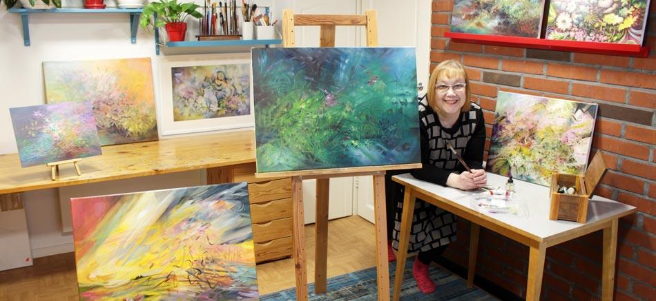 A visual artist Paivi Eerola in her studio in Finland.