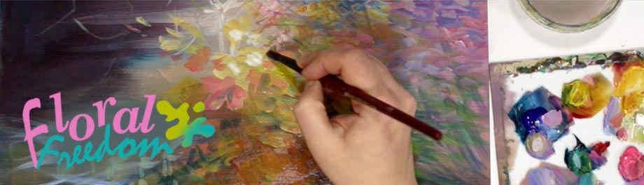 Floral Freedom - an online art class abot painting abstract florals in acrylics