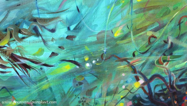 A detail of an intuitive abstract painting. By Paivi Eerola of Peony and Parakeet.