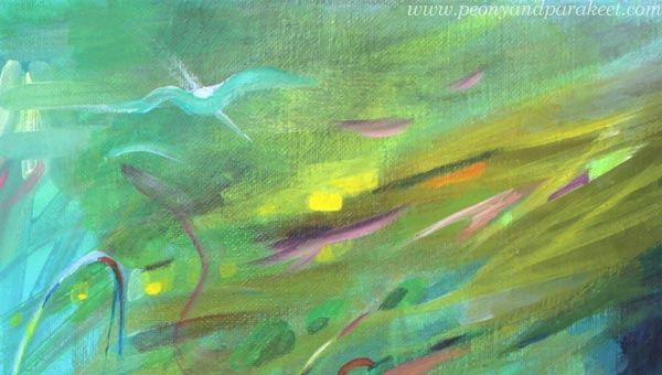 A detail of an abstract painting. By Paivi Eerola of Peony and Parakeet.