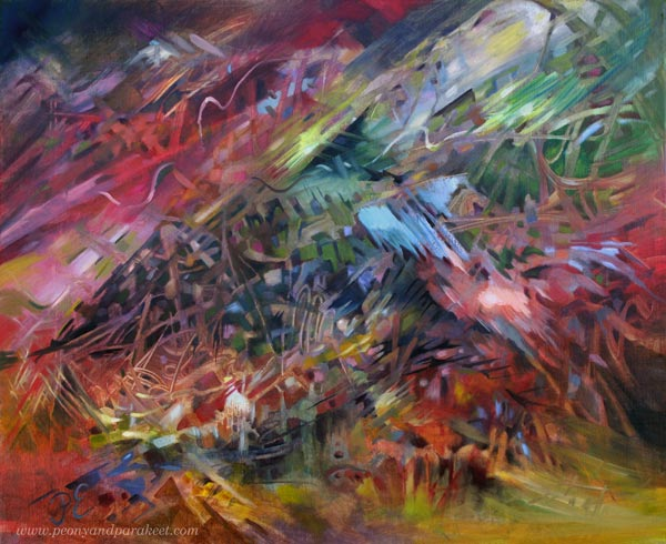 """""""Finch"""" - an oil painting by Paivi Eerola. Read more about how she paints freely!"""