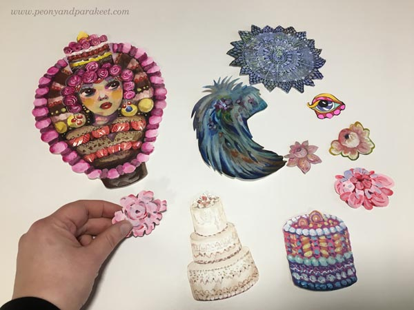 Arranging handpainted collage pieces