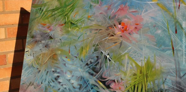 A detail of Bluesomnia, oil painting by Paivi Eerola.