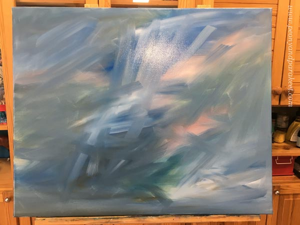 Starting a new painting. Painting in progress. By Paivi Eerola.