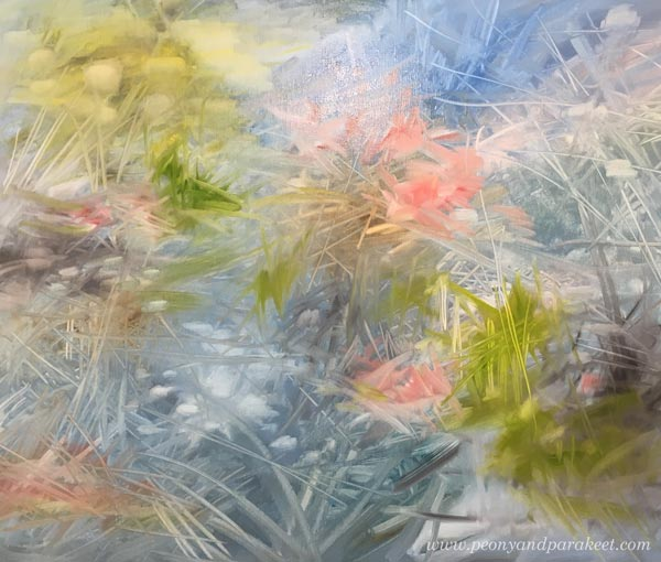 Oil painting in progress. Painting water. Painting intuitively. By Paivi Eerola.