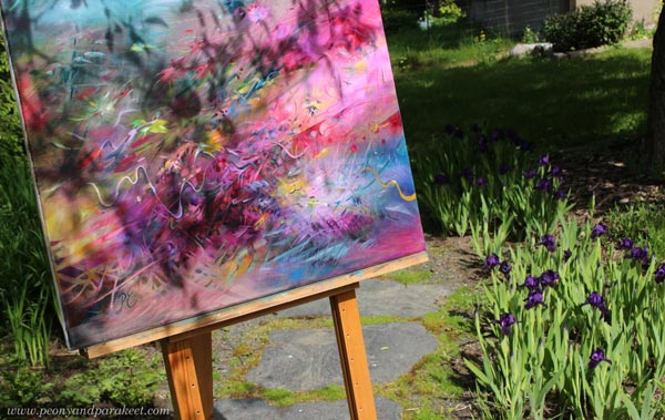 Restless Heart, oil painting by Paivi Eerola, photographed in the garden.