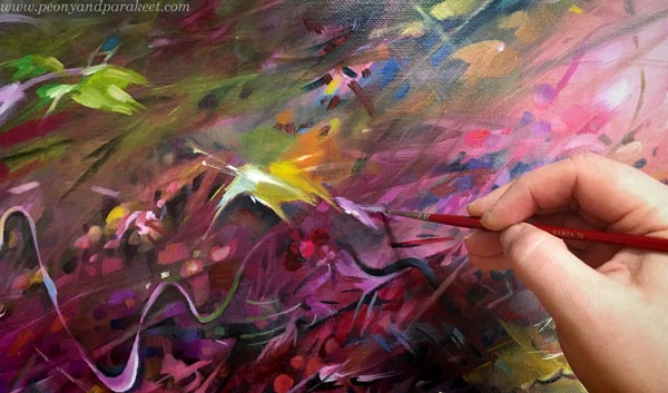 Creating art. Painting in progress, by Paivi Eerola.