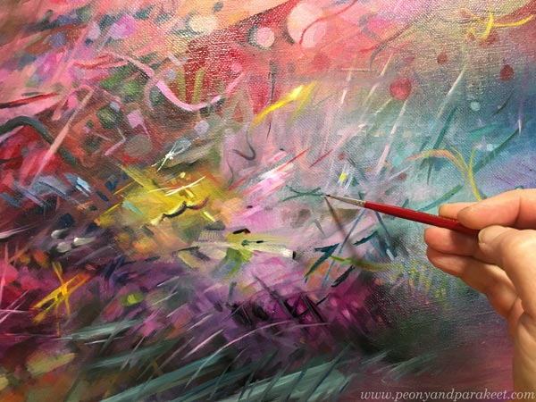 A colorful painting in progress. Liveliness as a goal. By Paivi Eerola of Peony and Parakeet.