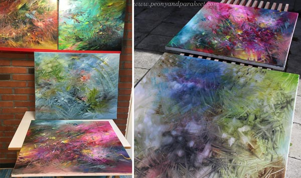 Painting a series. Some finished, some in progress. By Paivi Eerola.