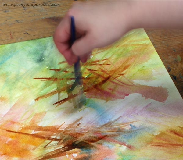 Enjoying strokes when painting with watercolors. One of the pleasures of artist's life.