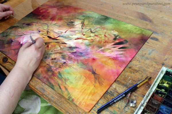 Making a layered watercolor painting. By artist Paivi Eerola.