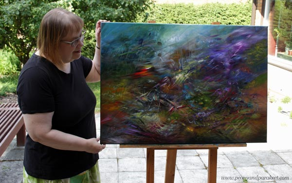 """Paivi Eerola and her oil painting """"All In"""""""
