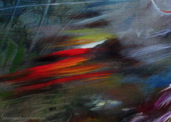 A detail of an oil painting by Paivi Eerola. Loose brush strokes that express fast motion. Finding uncommon inspiration to discover visual voice and visual language.