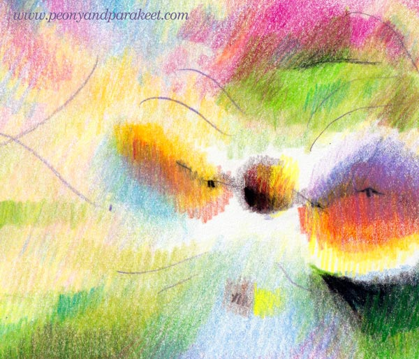 Intuitive coloring - a detail. By Paivi Eerola of Peony and Parakeet.