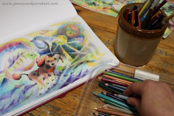 Playing with colored pencils. By Paivi Eerola.