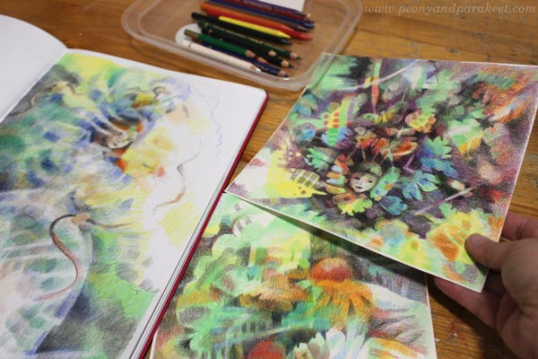 Illustrations by coloring freely and embracing the inner child. Colored pencils art by Paivi Eerola.