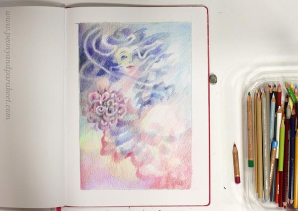 Creating colored pencil art layer by layer. In progress image.