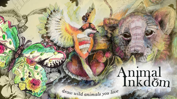 Animal Inkdom - a drawing class taught by Paivi Eerola, Finland.