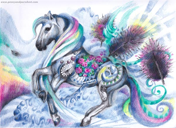 Fantasy Horse by Paivi Eerola of Peony and Parakeet. Colored pencil art.
