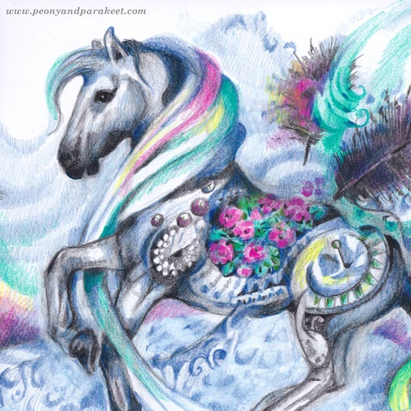 A detail of a horse illustration by Paivi Eerola of Peony and Parakeet.