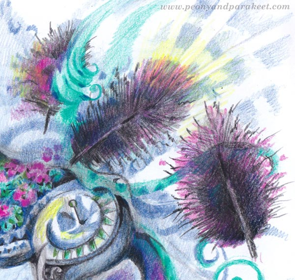 Colored pencil fantasy art, a detail. By Paivi Eerola of Peony and Parakeet.