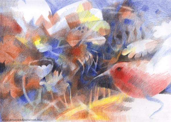 Mischief-Maker - colored pencil art by Paivi Eerola of Peony and Parakeet. Intuitive expression in drawing.