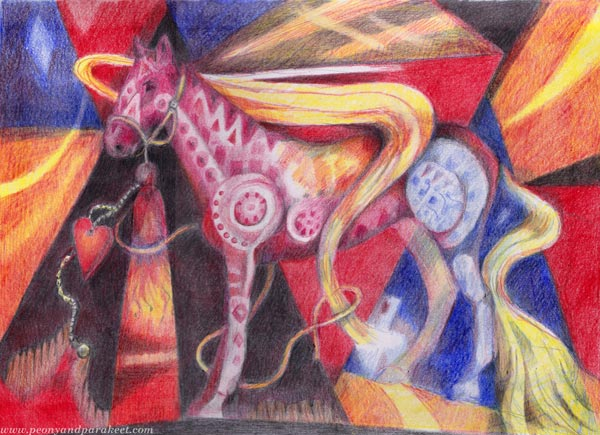 Fire - a colored pencil drawing by Paivi Eerola of Peony and Parakeet. Colored pencil horse art.