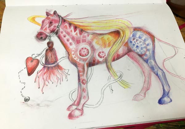 Colored pencil drawing in progress.