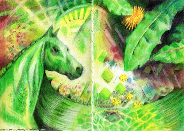 Moss horse, lemons and dandelions. Colored pencil journal spread by Paivi Eerola of Peony and Parakeet.