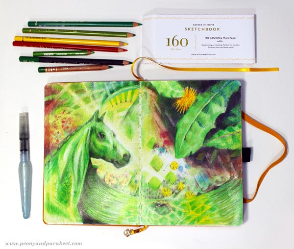 Using Archer & Olive's blank notebook as a colored pencil journal. By Paivi Eerola of Peony and Parakeet.