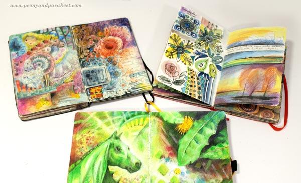 Small art journals - Moleskine sketchbooks and Archer & Olive notebook.