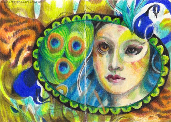A tiger and a peacock. A spread for a colored pencil diary. Art journaling without words. A fantasy illustration.
