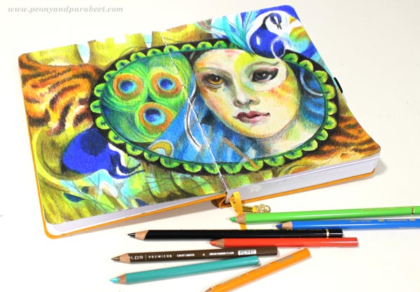 Colored pencil diary by Paivi Eerola of Peony and Parakeet. Archer & Olive's blank notebook as a visual diary.