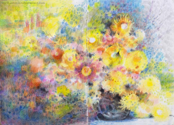 Color like Monet, a spread in a colored pencil journal by Paivi Eerola of Peony and Parakeet.