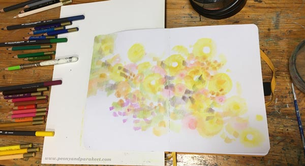 Step 2 of Color Like Monet, step by step instructions for colored pencils.