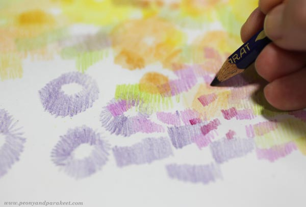Step 3 of Color Like Monet, step by step instructions for colored pencils.