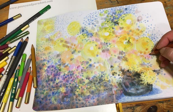 Step 4 of Color Like Monet, step by step instructions for colored pencils.