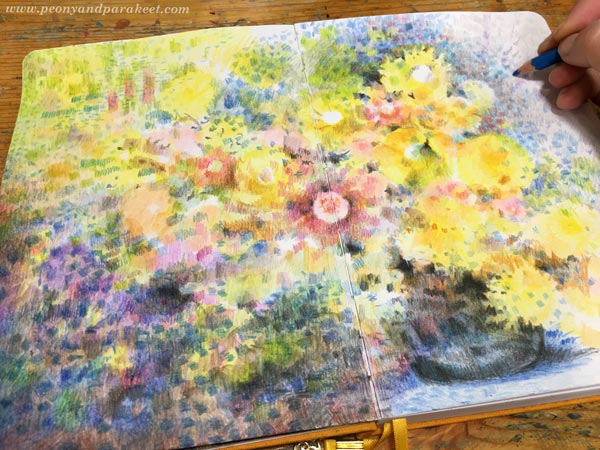 Step 6 of Color Like Monet, step by step instructions for colored pencils.